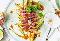 Gebratener Spargel mit Beiried und Teriyaki-Sauce Wilde, Fish, Cooking, Roast, Good Food, Meal, Kitchen, Pisces, Brewing