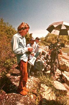 Wes Anderson on the set of Moonrise Kingdom