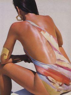 """The Bare Minimum - 'New Maximum Exposure"", Vogue US, May 1986 Photographer : Wayne Maser Model : Cindy CrawfordMakeup : Maria de SchneiderHair : Pascal Crucq"
