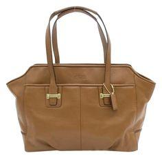 Coach Taylor Leather Alexis Carryall Work Laptop Saddle Brown Shoulder Bag #Coach #ShoulderBag