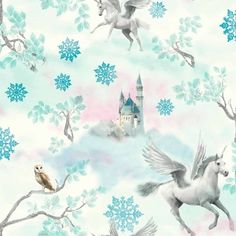 Fairytale Teal Blue Unicorns Wallpaper by Arthouse Silver Glitter 667800
