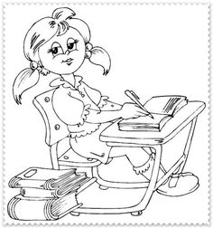 schoolgirl sitting at desk coloring page Cool Coloring Pages, Digi Stamps, Business For Kids, Pictures To Draw, Book Activities, Line Drawing, Arts And Crafts, Stationery, Sketches