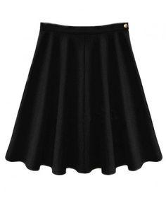 Black Wool Blend Midi Skirt with Soft Pleat