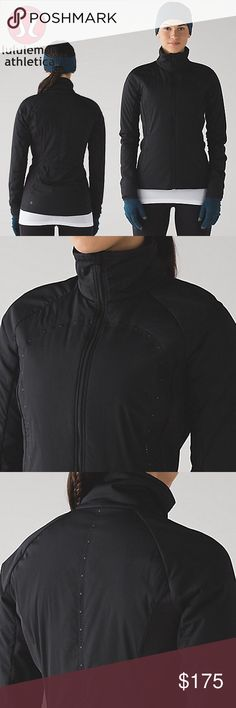 NWT lululemon Run for Cold jacket 6 We love thermoregulation! Designed with strategically weighted Primaloft® Active insulation, this jacket aims to keep you warm where it counts. Synthetic insulation retains warmth when it gets wet and the low-profile loft allows you to stay flexible and nimble. We also added reflectivity to help keep you visible in low light. - Designed for Run - water protection: Stretch Glyde and Fleece fabric are both water-repellent - Synthetic insulation to provide…