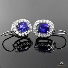 Blue delights: Halo Oval Sapphire Diamond Earrings