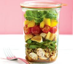 Salad in a jar! We love this lunch to go idea. It's super-easy to make, and pretty and practical