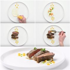 How to serve dishes on plates: tips from star chefs - Vegetarisches Menü - Steak Recipes Seared Salmon Recipes, Pan Seared Salmon, Pork Chop Recipes, Grilling Recipes, Food Design, Food Plating Techniques, Steak Plates, Tomato Cream Sauces, Star Chef