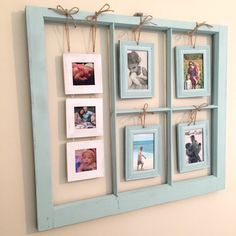 23 easy diy pallet wall art ideas to make up your house 12 Window Photo Frame, Wood Picture Frames, Picture On Wood, Photo Frame Ideas, Window Pane Pictures, Window Frame Crafts, Picture Frame Decor, Frames Ideas, Hanging Picture Frames
