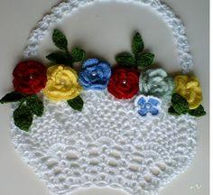 Crochê das Irmãs: cesto crochê para aplicação