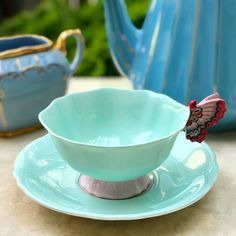 Blue Paragon teacup with butterfly handle