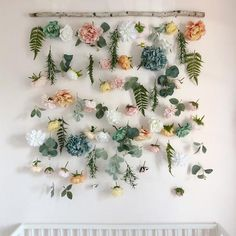 Floral designs that are lastingly beautiful. Floral Nursery, Nursery Decor, Floral Room, Boho Nursery, Wall Decor, Hanging Flower Wall, Hanging Plants, Plants Indoor, Room Ideas Bedroom