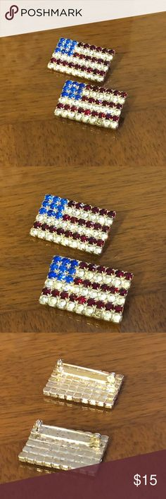 7190336cd2a Women s American flag brooch This pair of beautiful woman s American flag  broach with colored stones is