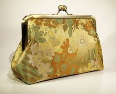 Silk Clutch Bridal Clutch  Floral Silk Brocade in Gold by FABbyCAB, $58.00