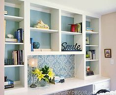Single patterned shelf, and I also like that it's one large open shelf. Might even be over a desk? Shelf doesn't need to be just for books.