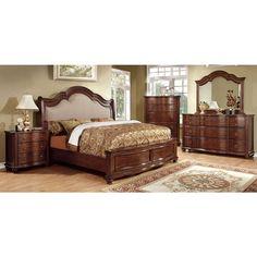 Bellavista Traditional Elegant Style Brown Cherry Finish 6-Piece Bedroom Set