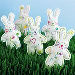 "From the Craft Archive of Woman's Day magazine , these 6"" stuffed felt bunnies  embellished with buttons and easy embroidery (only two simpl..."