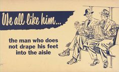 Toronto Transit Commission vintage subway cards to teach manners on public transit.