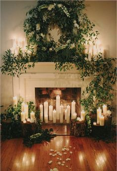 New wedding winter christmas candles Ideas Winter Wedding Decorations, Ceremony Decorations, Christmas Decorations, Holiday Decor, Ceremony Backdrop, Winter Weddings, Wedding Backdrops, Wedding Fireplace Decorations, Backdrop Ideas