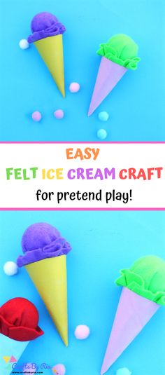 Gorgeous felt ice cream crafts for pretend play. Make them in different colours and your little ones will love them. Perfect for Toddlers, preschoolers, kindergarteners. Summer Arts And Crafts, Easy Arts And Crafts, Easy Crafts For Kids, Cute Crafts, Toddler Crafts, Preschool Crafts, Ice Cream Cone Craft, Ice Cream Crafts, Ice Cream Art