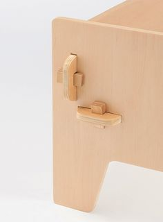 Wedge (detail) by Sebastian Bergne. A small range of knock down plywood furniture. Each piece can quickly be assembled by hand using simple wedges and without the need for tools. Manufactured by Muji #simplefurniture #Muji
