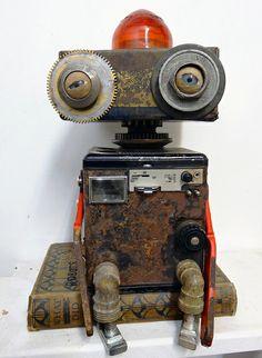 I've Seen too Much Diy Robot, Arte Robot, Robot Art, Vintage Robots, Retro Robot, Recycled Robot, Recycled Art, Found Object Art, Found Art