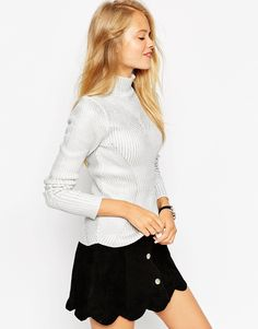 ASOS Jumper In Silver Foil In Directional Rib Stitch