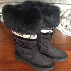 Coach Boots ! Authentic coach boots! black with black c's and fur trim 😘 price is negotiable make an offer xo Coach Shoes