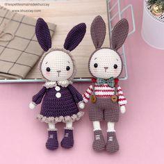 Home - Khuc Cay : Amigurumi and crochet pattern designer Crochet Bunny Pattern, Crochet Dolls Free Patterns, Crochet Rabbit, Crochet Diy, Crochet Motif, Stuffed Animal Patterns, Amigurumi Doll, Crochet Projects, Christmas Patterns