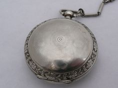 Rare Antique 44Mm Silver Turkish Ottoman Billodes Zenith Pocket Watch & Chain 11