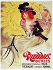 8179.Rambler bicycles.woman with red hair riding bicycle.POSTER.art wall decor1  Original|Reproduction - Reproduction, Signed? - Unsigned, Country|Region of Manufacture - United States