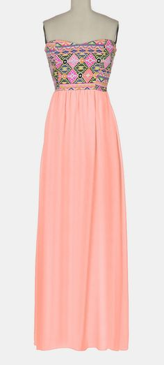 Blush & Yellow Geo Semi-Sheer Strapless Maxi Dress