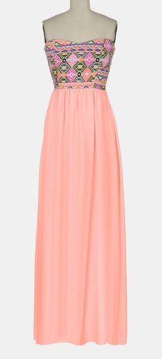 Blush & Yellow Geo Semi-Sheer Strapless Maxi Dress