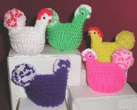 Include this clever Knitted Chicken Egg Cozy among your list of knitted craft projects for Easter. Each charming knit chicken holds one egg in its ribbed body. This pattern requires a few, simple crochet stitches for the neck and head.