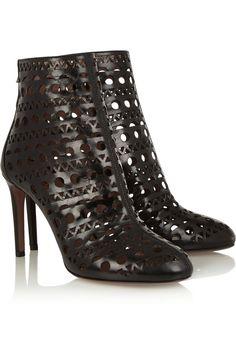 Alaïa|Laser-cut leather ankle boots|NET-A-PORTER.COM