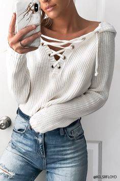 Cream Lace-up Hooded Sweater