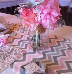 Select a Size  - Pink White Grey Chevron  Table Runner - Weddings, Party decor, Home, Decor Children's Room on Etsy, $18.00