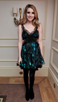 d6f88f2da9 Emma opted for a cool blue floral and lace Julien Macdonald party frock at  the 2010 British Fashion Awards.