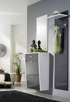 Garderobenset KATHY 3-teilig in weiß/Java grau Hochglanz