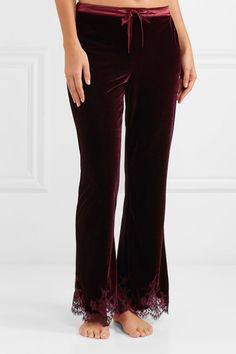 I.D. Sarrieri - Rose Imperial Chantilly Lace And Satin-trimmed Velvet Pajama Pants - Burgundy