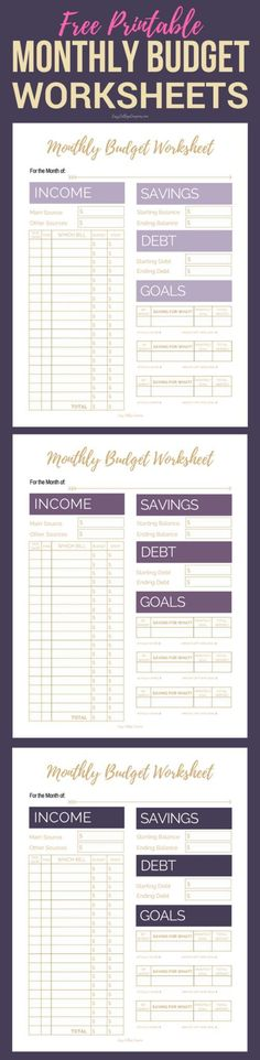 Free Printable Monthly Budget Worksheets | Printable Budget