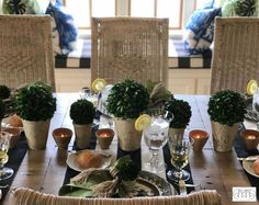 Keeping your centerpiece low profile encourages cross-table conversation.