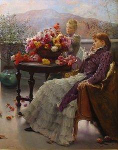 in-the-middle-of-a-daydream:    Arranging flowers (1890)by Julius Leblanc Stewart    (via stilllifequickheart)