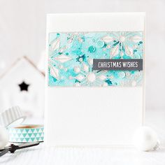 Inlaid die cutting with @simonsaysstamp snowflake block and watercolored background ❆  Don't you think inlaid die cutting really shows off intricate dies to their best