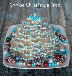 Cookie Christmas Tree - Sugar Cookie Christmas tree decorated with Sixlets #SweetWorksHoliday #ad
