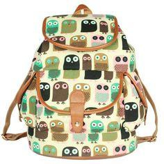 Cute Owl Printing Leisure Backpack