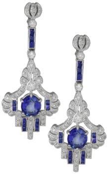 2.48ct Sapphire 0.70ct Diamond 14k Gold Earrings