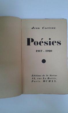 Jean Cocteau - Poésies 1917-1920 - 1920 - Catawiki