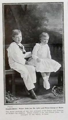 Prince John/Johnnie (son of George V and Queen Mary) Prince John and his brother Prince George of Wales.