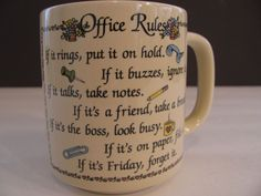 Office Rules Coffee Cup Mug Professional Administrative Assistant Humor Funny
