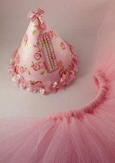 Chapéu de festa personalizado - parabéns - smash de cake - saia de tule (tutu)